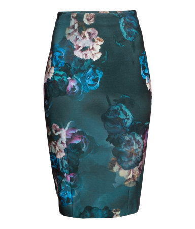 Pencil Skirt - style: pencil; fit: tight; waist: high rise; occasions: evening, occasion, creative work; length: on the knee; fibres: viscose/rayon - stretch; predominant colour: multicoloured; texture group: jersey - clingy; pattern type: fabric; pattern: florals; season: a/w 2014; pattern size: big & busy (bottom); multicoloured: multicoloured