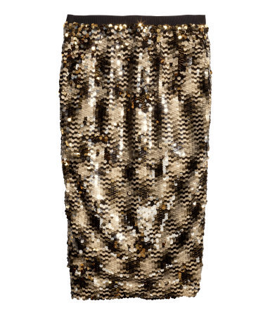 Sequined Skirt - length: below the knee; pattern: plain; style: pencil; fit: tight; waist detail: elasticated waist; waist: high rise; predominant colour: gold; secondary colour: black; occasions: evening; fibres: polyester/polyamide - 100%; hip detail: subtle/flattering hip detail; texture group: jersey - clingy; pattern type: fabric; embellishment: sequins; season: a/w 2014; wardrobe: event; embellishment location: all over