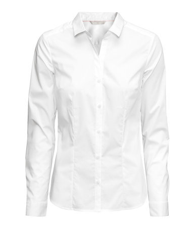 Stretch Shirt - neckline: shirt collar/peter pan/zip with opening; pattern: plain; style: shirt; predominant colour: white; occasions: work, creative work; length: standard; fibres: cotton - stretch; fit: tailored/fitted; sleeve length: long sleeve; sleeve style: standard; texture group: cotton feel fabrics; pattern type: fabric; season: a/w 2014