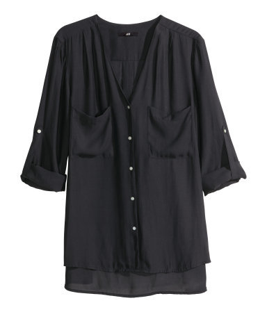 V Neck Blouse - neckline: low v-neck; pattern: plain; style: blouse; predominant colour: black; occasions: work, creative work; length: standard; fibres: polyester/polyamide - 100%; fit: loose; back detail: longer hem at back than at front; sleeve length: long sleeve; sleeve style: standard; texture group: sheer fabrics/chiffon/organza etc.; bust detail: bulky details at bust; pattern type: fabric; season: a/w 2014; wardrobe: highlight