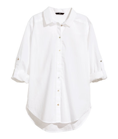 Cotton Blouse - neckline: shirt collar/peter pan/zip with opening; pattern: plain; style: shirt; predominant colour: white; occasions: casual, work; length: standard; fibres: cotton - 100%; fit: loose; back detail: longer hem at back than at front; sleeve length: 3/4 length; sleeve style: standard; texture group: cotton feel fabrics; pattern type: fabric; season: a/w 2014