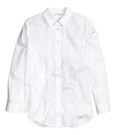Cotton Shirt - neckline: shirt collar/peter pan/zip with opening; pattern: plain; style: shirt; predominant colour: white; occasions: casual, work; length: standard; fibres: cotton - 100%; fit: straight cut; sleeve length: long sleeve; sleeve style: standard; texture group: cotton feel fabrics; pattern type: fabric; season: a/w 2014