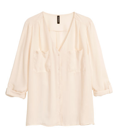 V Neck Blouse - neckline: v-neck; pattern: plain; style: blouse; predominant colour: nude; occasions: work; length: standard; fibres: polyester/polyamide - 100%; fit: loose; sleeve length: 3/4 length; sleeve style: standard; texture group: sheer fabrics/chiffon/organza etc.; bust detail: bulky details at bust; pattern type: fabric; season: a/w 2014; wardrobe: highlight