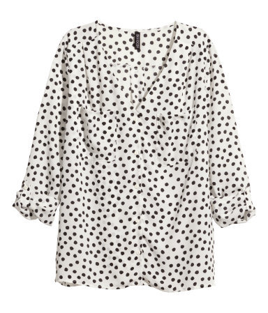V Neck Blouse - neckline: v-neck; style: blouse; pattern: polka dot; predominant colour: white; secondary colour: black; occasions: work; length: standard; fibres: polyester/polyamide - 100%; fit: body skimming; sleeve length: 3/4 length; sleeve style: standard; texture group: sheer fabrics/chiffon/organza etc.; bust detail: bulky details at bust; pattern type: fabric; season: a/w 2014; pattern size: big & busy (top); wardrobe: highlight