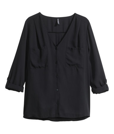 V Neck Blouse - neckline: v-neck; pattern: plain; bust detail: pocket detail at bust; style: blouse; predominant colour: black; occasions: casual, work, creative work; length: standard; fibres: polyester/polyamide - 100%; fit: straight cut; sleeve length: long sleeve; sleeve style: standard; texture group: sheer fabrics/chiffon/organza etc.; pattern type: fabric; season: a/w 2014