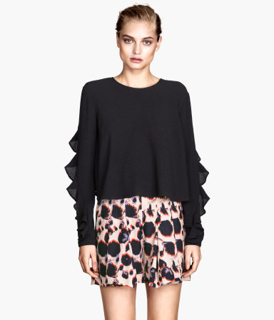 Frilled Crêpe Blouse - pattern: plain; length: cropped; style: blouse; predominant colour: black; occasions: evening, creative work; fibres: polyester/polyamide - stretch; fit: loose; neckline: crew; back detail: keyhole/peephole detail at back; sleeve length: long sleeve; sleeve style: standard; texture group: crepes; pattern type: fabric; season: a/w 2014