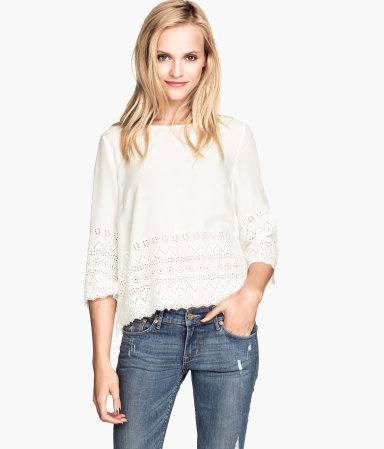 Embroidered Blouse - neckline: slash/boat neckline; pattern: plain; style: blouse; predominant colour: ivory/cream; occasions: casual; length: standard; fibres: cotton - 100%; fit: loose; sleeve length: 3/4 length; sleeve style: standard; pattern type: fabric; texture group: jersey - stretchy/drapey; embellishment: embroidered; season: a/w 2014