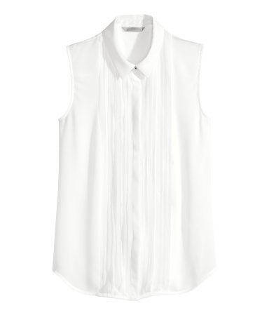 Sleeveless Blouse - neckline: shirt collar/peter pan/zip with opening; pattern: plain; sleeve style: sleeveless; style: blouse; bust detail: subtle bust detail; predominant colour: white; occasions: work, creative work; length: standard; fibres: polyester/polyamide - 100%; fit: straight cut; sleeve length: sleeveless; texture group: sheer fabrics/chiffon/organza etc.; pattern type: fabric; season: a/w 2014; wardrobe: basic