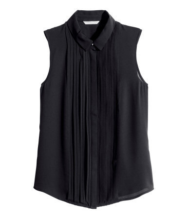 Sleeveless Blouse - neckline: shirt collar/peter pan/zip with opening; pattern: plain; sleeve style: sleeveless; style: blouse; bust detail: ruching/gathering/draping/layers/pintuck pleats at bust; predominant colour: black; occasions: evening, work, creative work; length: standard; fibres: polyester/polyamide - 100%; fit: straight cut; sleeve length: sleeveless; texture group: sheer fabrics/chiffon/organza etc.; pattern type: fabric; season: a/w 2014