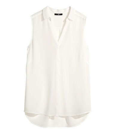 Sleeveless Blouse - neckline: shirt collar/peter pan/zip with opening; pattern: plain; sleeve style: sleeveless; style: blouse; predominant colour: white; occasions: casual, creative work; length: standard; fibres: polyester/polyamide - 100%; fit: straight cut; back detail: longer hem at back than at front; sleeve length: sleeveless; texture group: sheer fabrics/chiffon/organza etc.; pattern type: fabric; season: a/w 2014