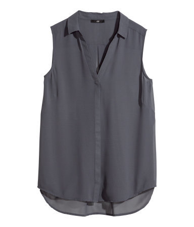 Sleeveless Blouse - neckline: shirt collar/peter pan/zip with opening; pattern: plain; sleeve style: sleeveless; style: blouse; predominant colour: charcoal; occasions: casual, creative work; length: standard; fibres: polyester/polyamide - 100%; fit: straight cut; back detail: longer hem at back than at front; sleeve length: sleeveless; texture group: sheer fabrics/chiffon/organza etc.; pattern type: fabric; season: a/w 2014