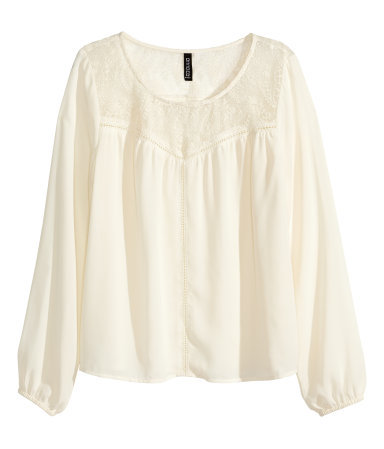 Lace Blouse - neckline: round neck; pattern: plain; sleeve style: balloon; style: blouse; secondary colour: white; predominant colour: ivory/cream; occasions: casual; length: standard; fibres: polyester/polyamide - 100%; fit: loose; sleeve length: 3/4 length; texture group: sheer fabrics/chiffon/organza etc.; pattern type: fabric; season: a/w 2014; embellishment: contrast fabric; embellishment location: bust, shoulder