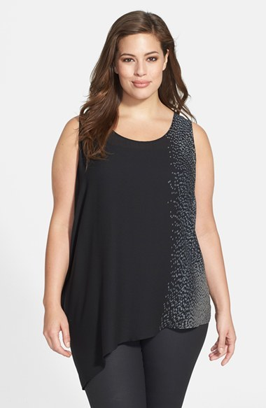 Print Panel Silk Crepe U Neck Shell (Plus Size) - sleeve style: sleeveless; length: below the bottom; style: camisole; secondary colour: mid grey; predominant colour: black; occasions: casual, evening; neckline: scoop; fibres: silk - 100%; fit: loose; back detail: longer hem at back than at front; sleeve length: sleeveless; texture group: crepes; pattern type: fabric; pattern size: light/subtle; pattern: animal print; season: a/w 2014