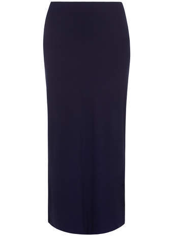 Navy Tube Maxi Skirt - length: below the knee; pattern: plain; style: pencil; waist: high rise; predominant colour: navy; occasions: casual, creative work; fibres: polyester/polyamide - stretch; fit: straight cut; pattern type: fabric; texture group: woven light midweight; season: a/w 2014