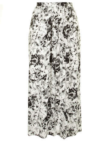 Floral Print Maxi Skirt - length: ankle length; fit: loose/voluminous; waist: high rise; predominant colour: ivory/cream; secondary colour: black; occasions: casual; style: maxi skirt; fibres: polyester/polyamide - 100%; waist detail: narrow waistband; pattern type: fabric; pattern: florals; texture group: woven light midweight; season: a/w 2014; pattern size: standard (bottom)