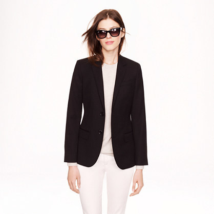 Women's Ludlow Blazer In Wool Gabardine - pattern: plain; style: single breasted blazer; length: below the bottom; collar: standard lapel/rever collar; predominant colour: black; occasions: casual, work, creative work; fit: tailored/fitted; fibres: wool - mix; sleeve length: long sleeve; sleeve style: standard; collar break: low/open; pattern type: fabric; texture group: woven light midweight; trends: minimal sleek; season: a/w 2014