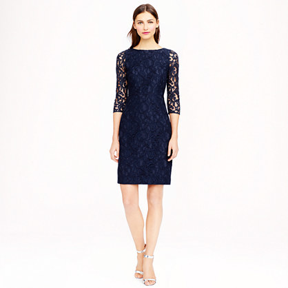 Petite Natalia Dress In Leavers Lace - style: shift; neckline: slash/boat neckline; fit: tailored/fitted; predominant colour: navy; occasions: evening, occasion; length: just above the knee; fibres: nylon - mix; sleeve length: 3/4 length; sleeve style: standard; texture group: lace; pattern type: fabric; pattern: patterned/print; embellishment: lace; season: a/w 2014