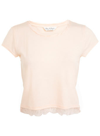 Lace Hem Shirt - neckline: round neck; pattern: plain; length: cropped; predominant colour: nude; occasions: casual, creative work; style: top; fibres: polyester/polyamide - mix; fit: body skimming; hip detail: contrast fabric/print detail at hip; sleeve length: short sleeve; sleeve style: standard; pattern type: fabric; texture group: jersey - stretchy/drapey; embellishment: lace; season: a/w 2014