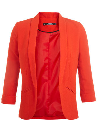 Petites Red Crepe Jacket - pattern: plain; style: single breasted blazer; collar: shawl/waterfall; predominant colour: bright orange; occasions: evening, creative work; length: standard; fit: tailored/fitted; fibres: cotton - stretch; sleeve length: 3/4 length; sleeve style: standard; texture group: crepes; collar break: low/open; pattern type: fabric; trends: zesty shades; season: a/w 2014