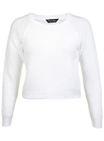 White Ottoman Crew Neck Jumper - sleeve style: raglan; pattern: plain; length: cropped; style: standard; predominant colour: white; occasions: casual, creative work; fibres: acrylic - 100%; fit: standard fit; neckline: crew; sleeve length: long sleeve; texture group: knits/crochet; pattern type: knitted - other; season: a/w 2014