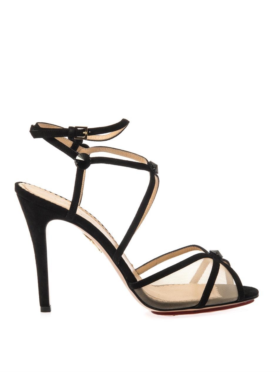 Isadora Suede Sandals - predominant colour: black; occasions: evening, occasion; material: suede; ankle detail: ankle strap; heel: stiletto; toe: open toe/peeptoe; style: strappy; finish: plain; pattern: plain; heel height: very high; season: a/w 2014