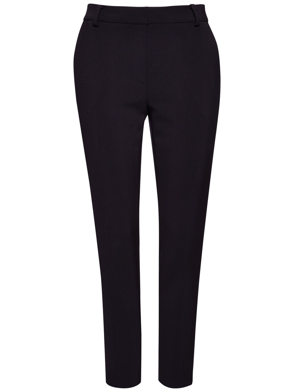 Stretch 7/8ths Trousers - pattern: plain; style: capri; waist: mid/regular rise; predominant colour: navy; occasions: work, creative work; length: ankle length; fibres: viscose/rayon - 100%; waist detail: feature waist detail; fit: slim leg; pattern type: fabric; texture group: woven light midweight; season: a/w 2014