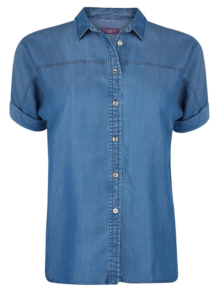 Tencel Shirt, Medium Blue - neckline: shirt collar/peter pan/zip with opening; pattern: plain; style: shirt; predominant colour: denim; occasions: casual, creative work; length: standard; fibres: cotton - 100%; fit: straight cut; sleeve length: short sleeve; sleeve style: standard; texture group: denim; pattern type: fabric; season: a/w 2014
