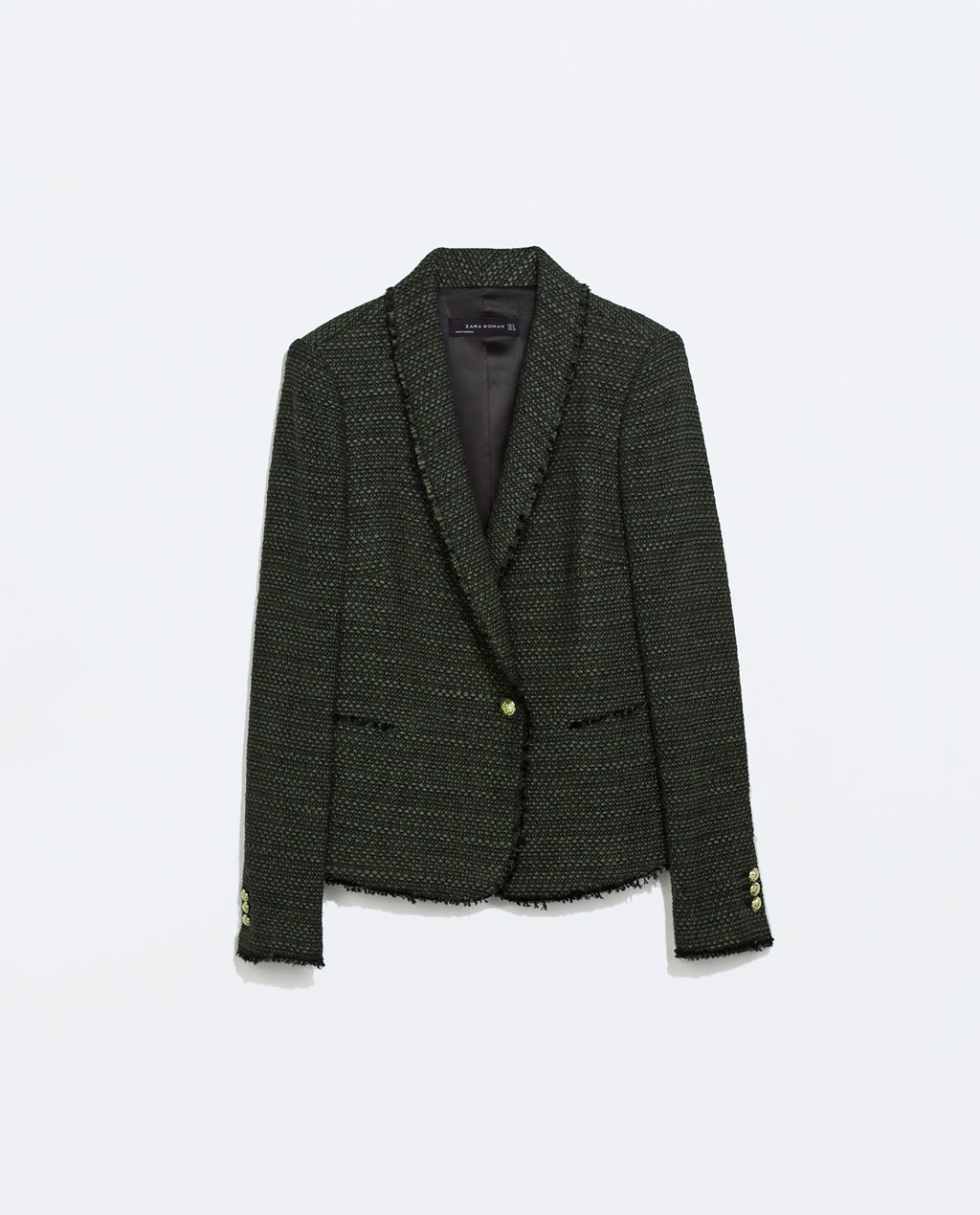 Fantasy Buttoned Blazer - style: single breasted blazer; collar: shawl/waterfall; pattern: herringbone/tweed; predominant colour: dark green; secondary colour: black; occasions: casual, creative work; length: standard; fit: tailored/fitted; fibres: cotton - stretch; sleeve length: long sleeve; sleeve style: standard; collar break: medium; pattern type: fabric; pattern size: standard; texture group: tweed - light/midweight; season: a/w 2014