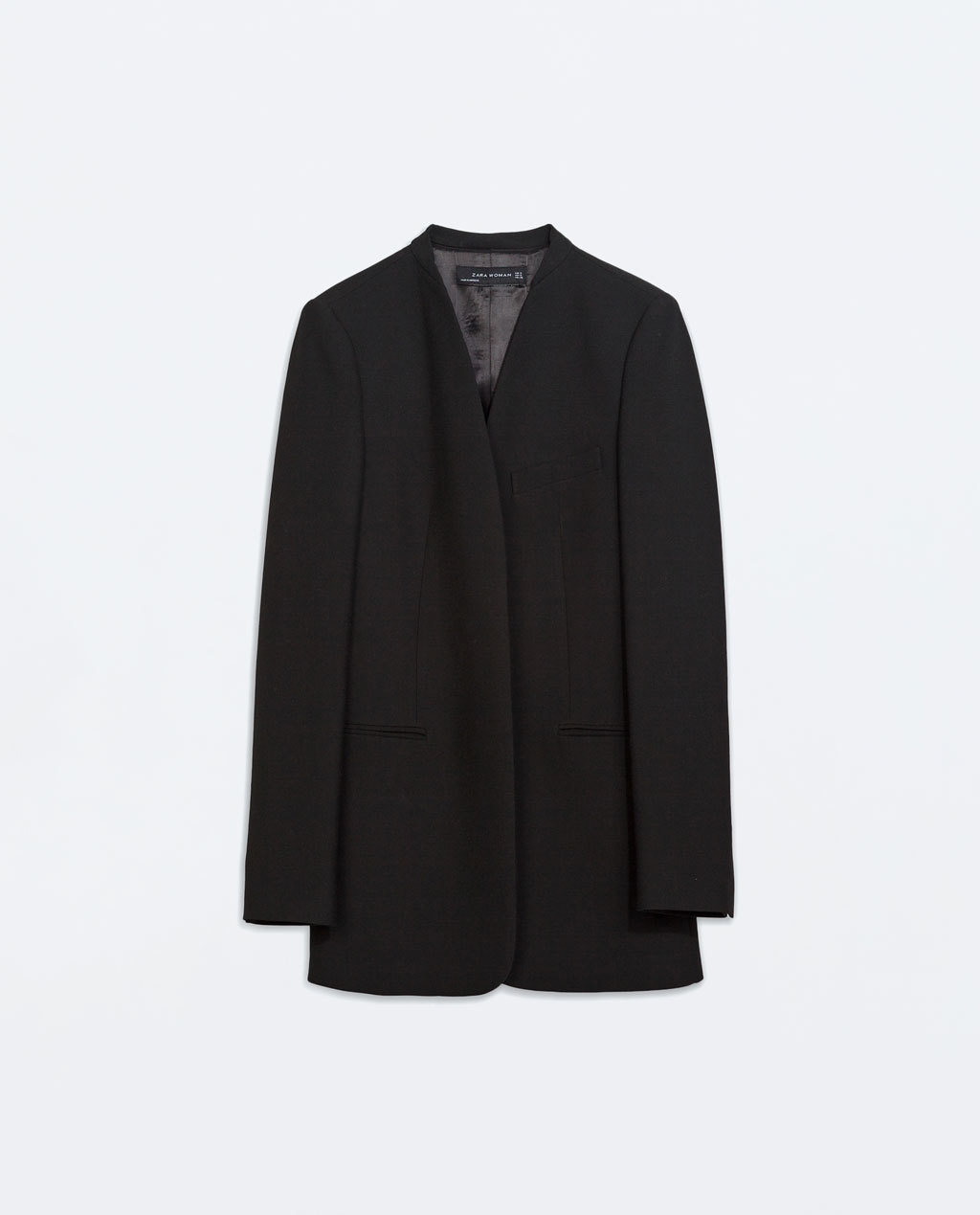 Collarless Frock Coat - pattern: plain; length: below the bottom; collar: round collar/collarless; style: single breasted; predominant colour: black; occasions: casual, work, creative work; fit: straight cut (boxy); fibres: polyester/polyamide - stretch; back detail: back vent/flap at back; sleeve length: long sleeve; sleeve style: standard; texture group: crepes; collar break: low/open; pattern type: fabric; season: a/w 2014