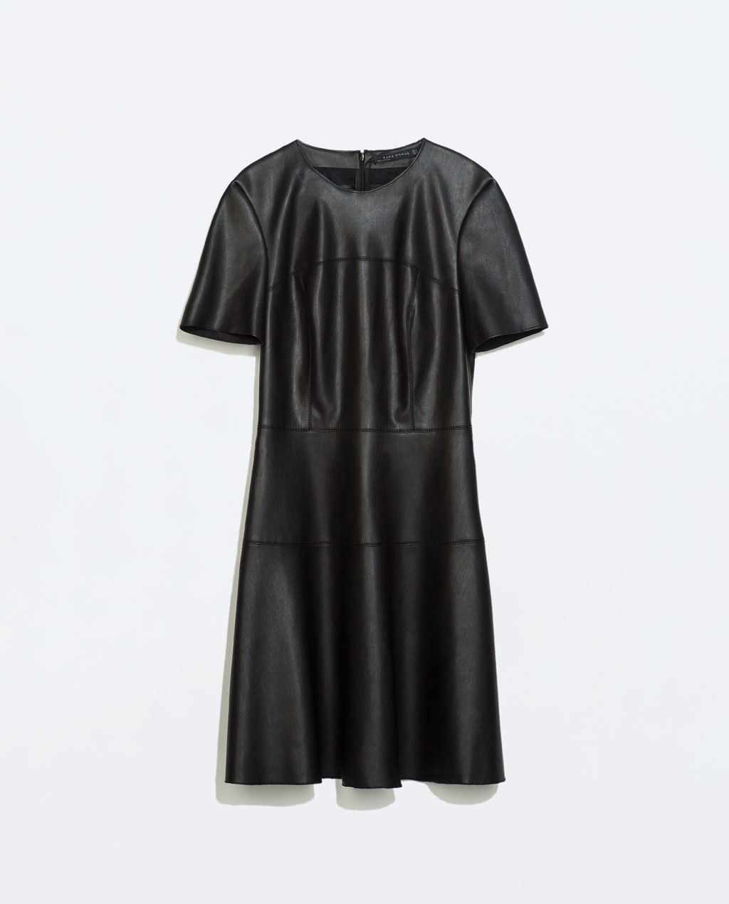 Faux Leather Dress - length: mid thigh; pattern: plain; predominant colour: black; occasions: evening, creative work; fit: fitted at waist & bust; style: fit & flare; neckline: crew; hip detail: soft pleats at hip/draping at hip/flared at hip; sleeve length: short sleeve; sleeve style: standard; texture group: leather; pattern type: fabric; fibres: pvc/polyurethene - 100%; season: a/w 2014