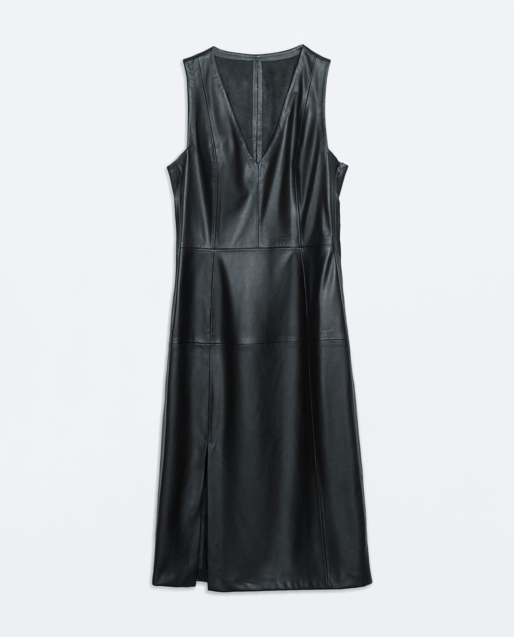 Faux Leather Dress - style: shift; length: below the knee; neckline: low v-neck; fit: tailored/fitted; pattern: plain; sleeve style: sleeveless; hip detail: draws attention to hips; predominant colour: black; occasions: evening, creative work; sleeve length: sleeveless; texture group: leather; pattern type: fabric; fibres: pvc/polyurethene - 100%; season: a/w 2014