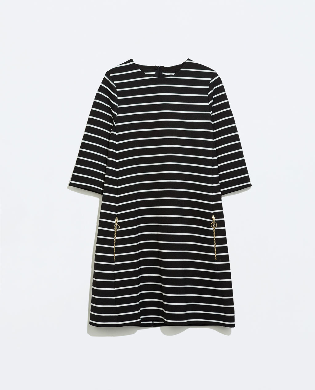 Striped Dress - style: tunic; length: mid thigh; pattern: horizontal stripes; secondary colour: white; predominant colour: black; occasions: casual, creative work; fit: straight cut; fibres: polyester/polyamide - stretch; neckline: crew; hip detail: subtle/flattering hip detail; sleeve length: 3/4 length; sleeve style: standard; pattern type: fabric; pattern size: standard; texture group: jersey - stretchy/drapey; season: a/w 2014