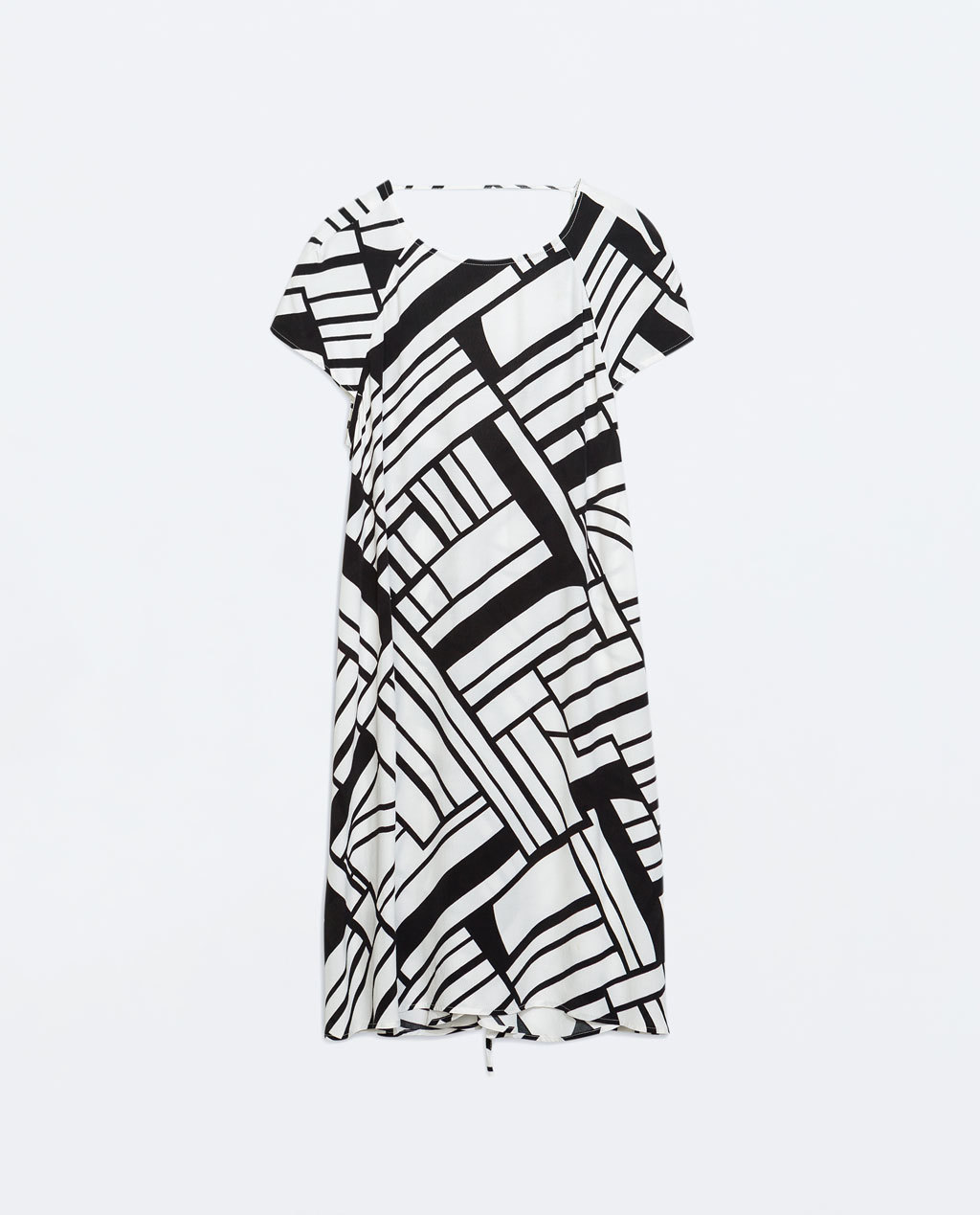 Printed Dress - style: shift; length: mid thigh; predominant colour: ivory/cream; secondary colour: black; occasions: evening, creative work; fit: body skimming; fibres: viscose/rayon - 100%; neckline: crew; sleeve length: short sleeve; sleeve style: standard; pattern type: fabric; pattern size: big & busy; pattern: patterned/print; texture group: woven light midweight; trends: optic prints; season: a/w 2014