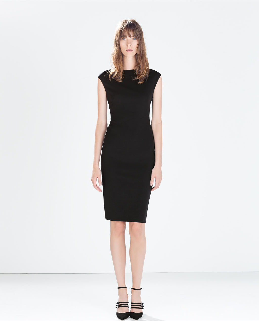 Tube Dress With Pleats At Neckline - style: shift; neckline: slash/boat neckline; sleeve style: capped; pattern: plain; predominant colour: black; occasions: evening, occasion, creative work; length: just above the knee; fit: body skimming; fibres: polyester/polyamide - stretch; sleeve length: sleeveless; texture group: jersey - clingy; pattern type: fabric; season: a/w 2014
