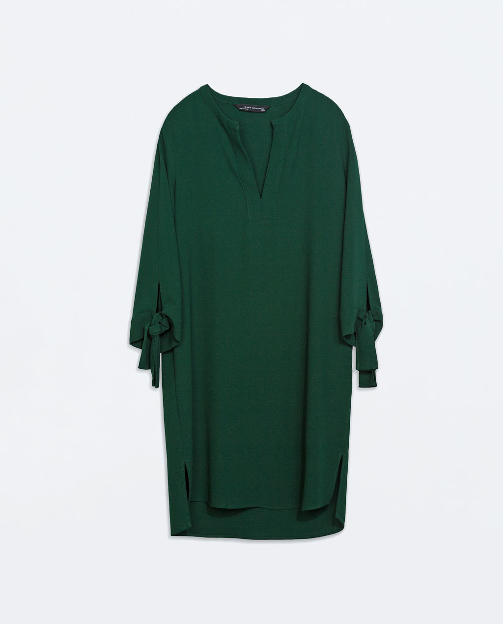 Tie Sleeve Tunic - style: tunic; length: mid thigh; fit: loose; pattern: plain; predominant colour: dark green; occasions: casual, creative work; neckline: collarstand & mandarin with v-neck; fibres: polyester/polyamide - 100%; sleeve length: 3/4 length; sleeve style: standard; texture group: crepes; pattern type: fabric; season: a/w 2014