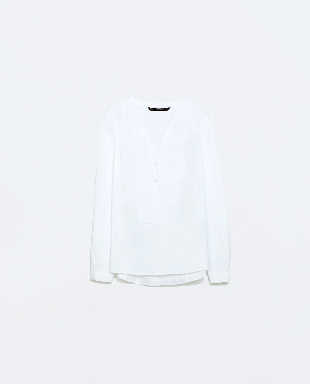 V Neck Twill Shirt - neckline: low v-neck; pattern: plain; style: blouse; bust detail: buttons at bust (in middle at breastbone)/zip detail at bust; predominant colour: white; occasions: work, creative work; length: standard; fibres: cotton - stretch; fit: straight cut; sleeve length: long sleeve; sleeve style: standard; texture group: cotton feel fabrics; pattern type: fabric; season: a/w 2014