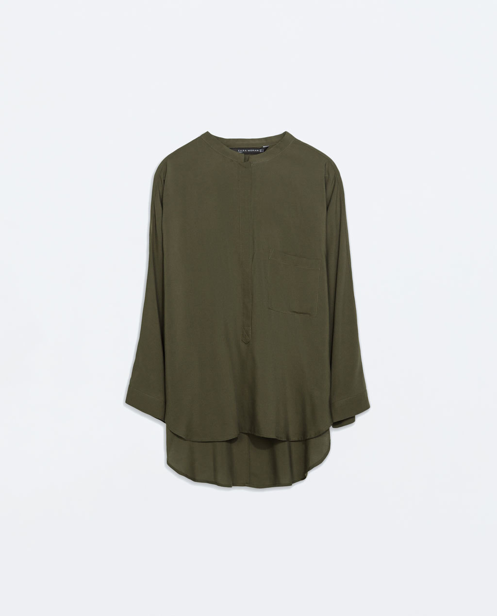 Oversized Mao Collar Blouse - pattern: plain; style: blouse; predominant colour: khaki; occasions: casual, creative work; length: standard; neckline: collarstand; fibres: viscose/rayon - 100%; fit: loose; back detail: longer hem at back than at front; sleeve length: 3/4 length; sleeve style: standard; pattern type: fabric; texture group: woven light midweight; season: a/w 2014; embellishment location: bust