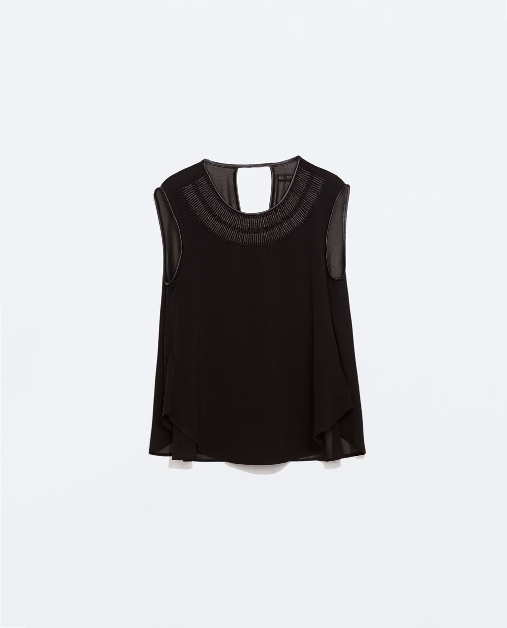 Top With AppliquÉ On Collar - neckline: round neck; pattern: plain; sleeve style: sleeveless; predominant colour: black; occasions: evening, creative work; length: standard; style: top; fibres: polyester/polyamide - 100%; fit: loose; back detail: keyhole/peephole detail at back; sleeve length: sleeveless; texture group: sheer fabrics/chiffon/organza etc.; pattern type: fabric; embellishment: beading; season: a/w 2014; embellishment location: bust