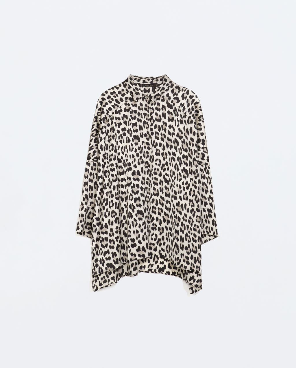 Oversize Animal Print Blouse - neckline: shirt collar/peter pan/zip with opening; sleeve style: dolman/batwing; length: below the bottom; style: shirt; predominant colour: white; secondary colour: black; occasions: casual, creative work; fibres: polyester/polyamide - 100%; fit: loose; sleeve length: long sleeve; texture group: sheer fabrics/chiffon/organza etc.; pattern type: fabric; pattern: animal print; season: a/w 2014; pattern size: big & busy (top)