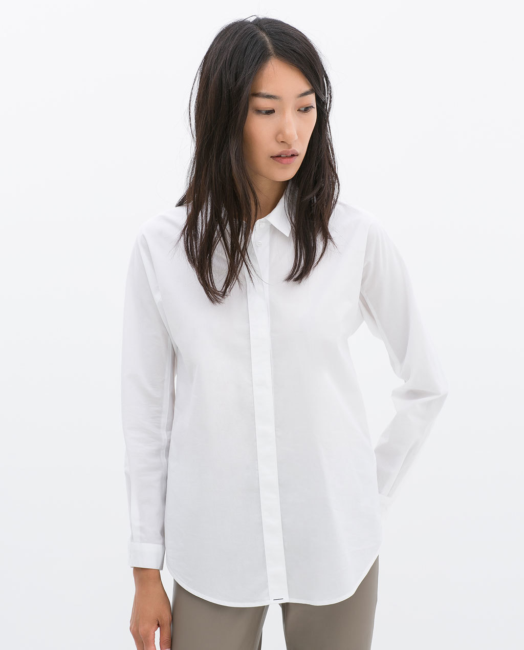 Poplin Shirt - neckline: shirt collar/peter pan/zip with opening; pattern: plain; length: below the bottom; style: shirt; predominant colour: white; occasions: work, creative work; fibres: cotton - 100%; fit: loose; sleeve length: long sleeve; sleeve style: standard; texture group: cotton feel fabrics; pattern type: fabric; season: a/w 2014