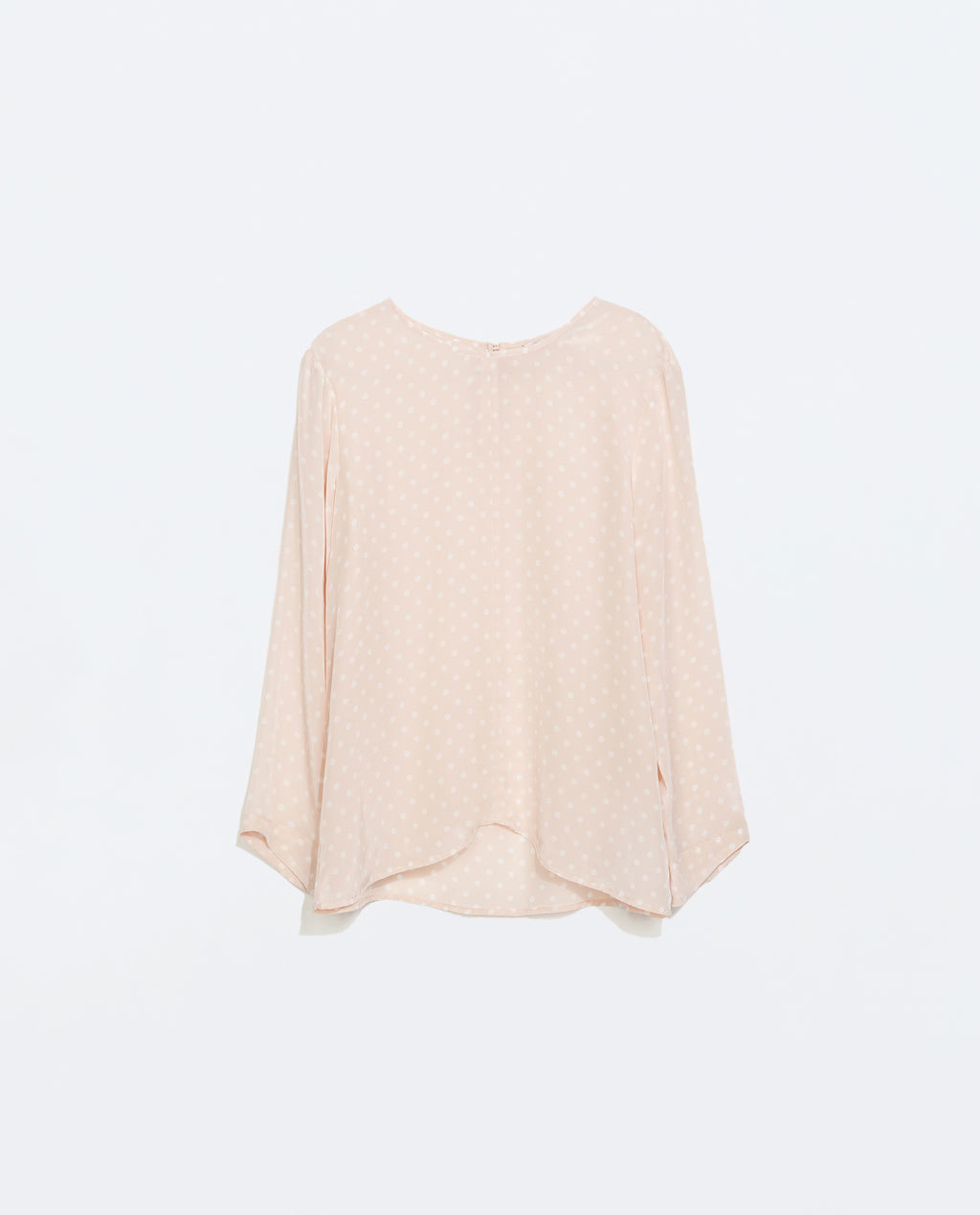 Polka Dot Silk Top - style: blouse; pattern: polka dot; secondary colour: white; predominant colour: blush; occasions: casual, creative work; length: standard; fibres: silk - 100%; fit: loose; neckline: crew; sleeve length: 3/4 length; sleeve style: standard; texture group: silky - light; pattern type: fabric; pattern size: light/subtle; season: a/w 2014