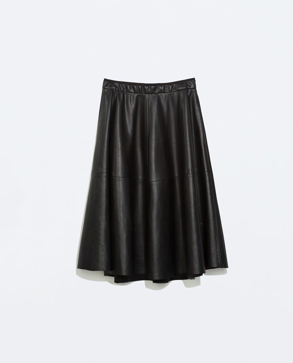 Faux Leather Flared Skirt - length: below the knee; pattern: plain; style: full/prom skirt; fit: loose/voluminous; waist detail: elasticated waist; waist: high rise; predominant colour: black; occasions: casual, evening, creative work; hip detail: soft pleats at hip/draping at hip/flared at hip; texture group: leather; pattern type: fabric; fibres: pvc/polyurethene - mix; season: a/w 2014