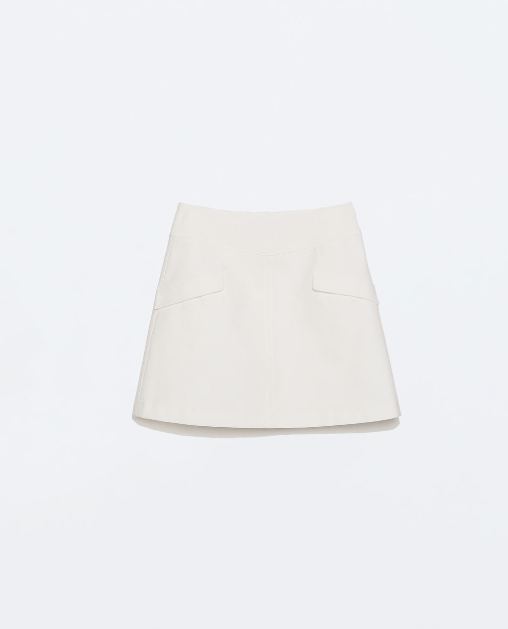 A Line Skirt - length: mid thigh; pattern: plain; fit: loose/voluminous; waist: high rise; predominant colour: ivory/cream; occasions: evening, creative work; style: a-line; fibres: cotton - stretch; hip detail: subtle/flattering hip detail; texture group: crepes; pattern type: fabric; season: a/w 2014