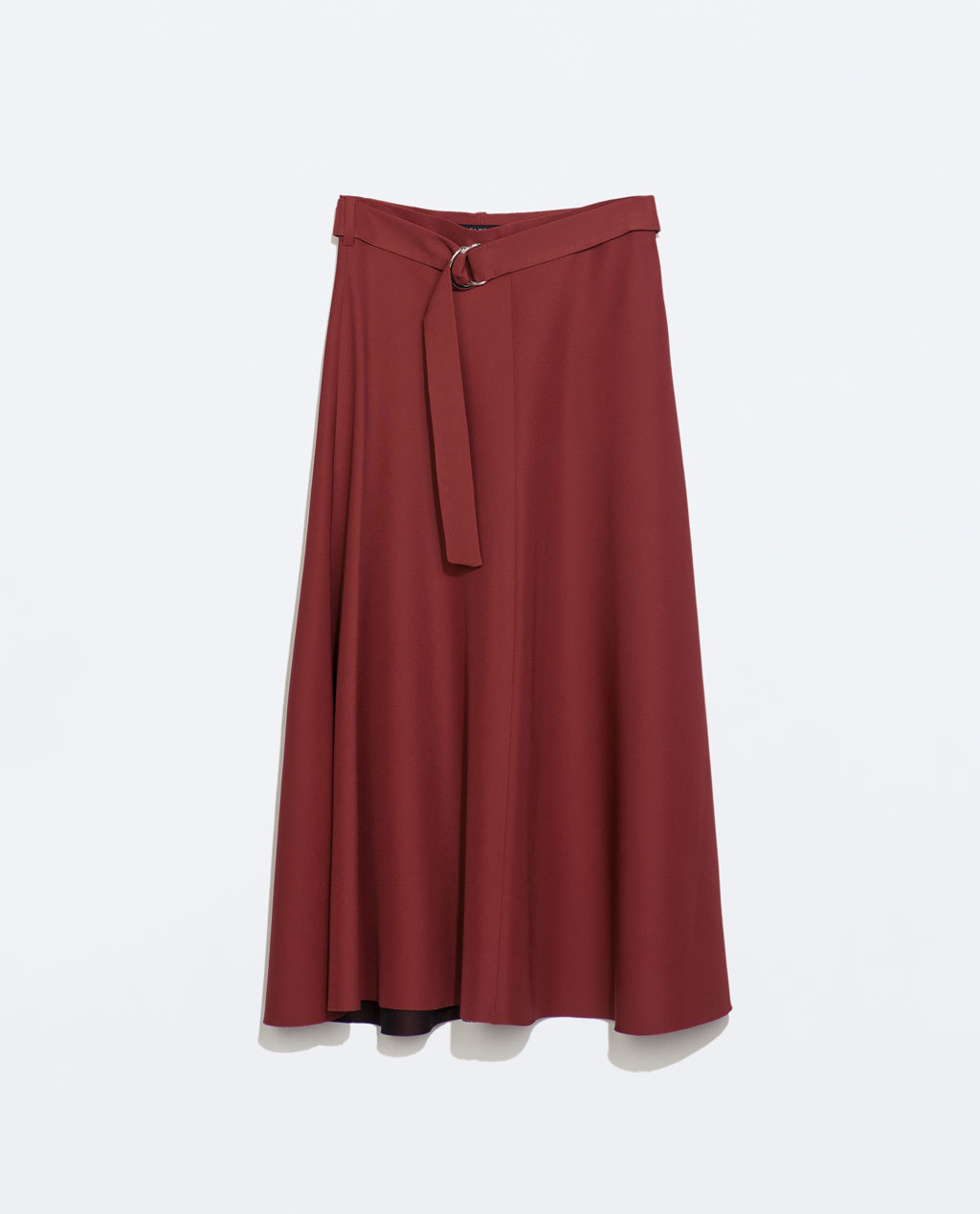 High Waist Skirt With Belt - length: calf length; pattern: plain; fit: loose/voluminous; style: pleated; waist: high rise; waist detail: belted waist/tie at waist/drawstring; predominant colour: terracotta; occasions: casual, creative work; fibres: polyester/polyamide - stretch; hip detail: soft pleats at hip/draping at hip/flared at hip; pattern type: fabric; texture group: woven light midweight; season: a/w 2014