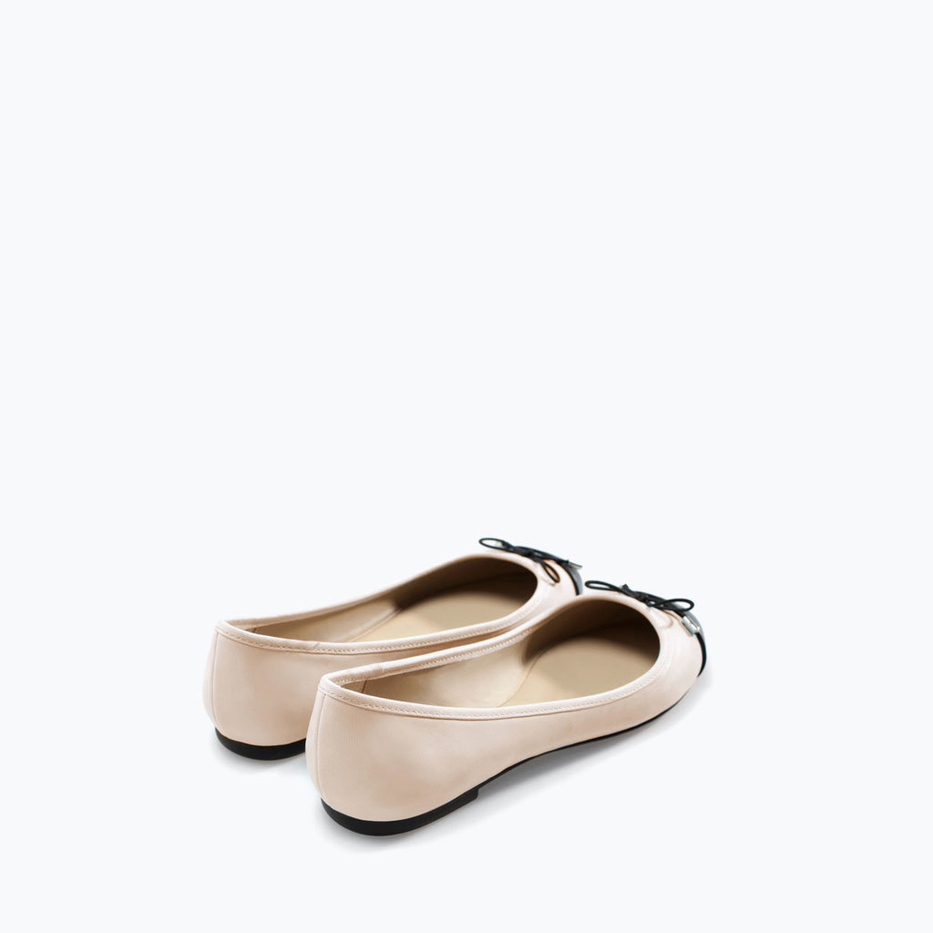 Cap Toe Ballerina Flat - predominant colour: blush; secondary colour: black; occasions: casual, creative work; material: faux leather; heel height: flat; toe: round toe; style: ballerinas / pumps; finish: plain; pattern: colourblock; embellishment: toe cap; season: a/w 2014