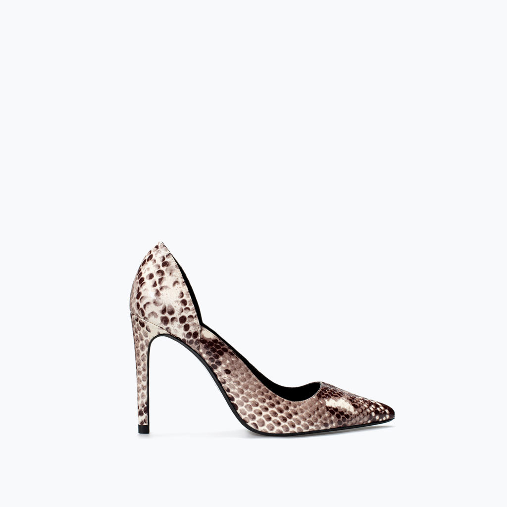 Printed Leather Court Shoe - secondary colour: ivory/cream; predominant colour: chocolate brown; occasions: evening, occasion, creative work; material: leather; heel height: high; heel: stiletto; toe: pointed toe; style: courts; finish: plain; pattern: animal print; season: a/w 2014