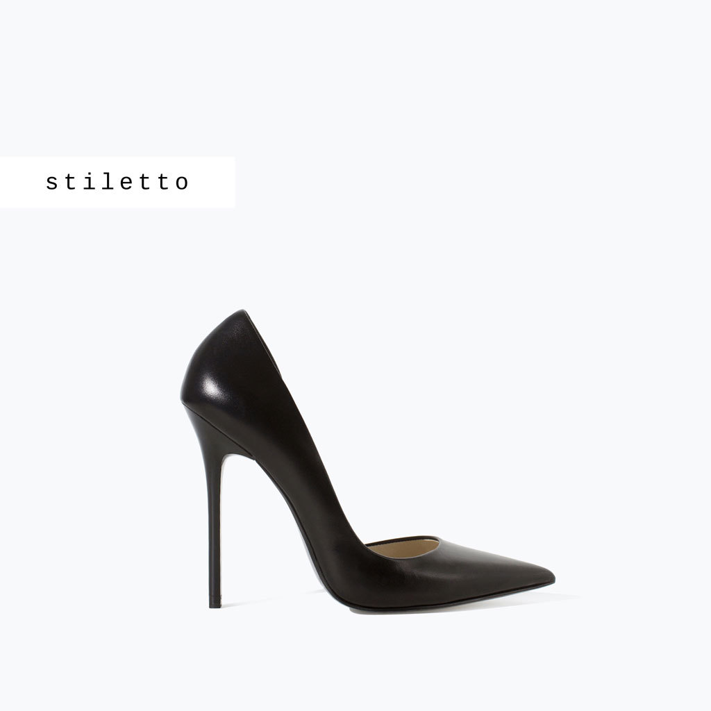 Leather Stiletto Shoes - predominant colour: black; occasions: evening, occasion, creative work; material: leather; heel: stiletto; toe: pointed toe; style: courts; finish: plain; pattern: plain; heel height: very high; season: a/w 2014