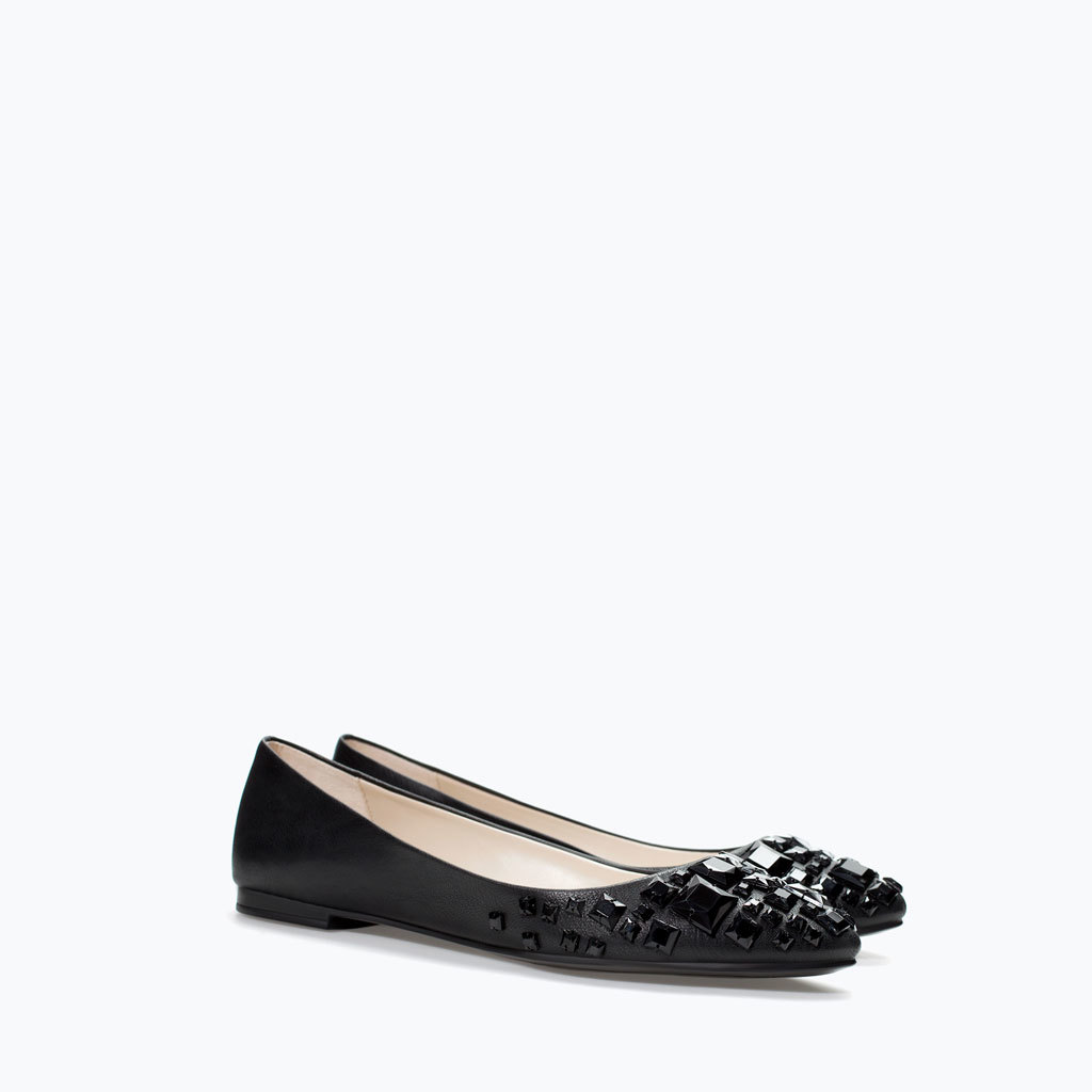 Ballerina Flats With Gems - predominant colour: black; occasions: casual, creative work; material: faux leather; heel height: flat; embellishment: jewels/stone; toe: round toe; style: ballerinas / pumps; finish: plain; pattern: plain; season: a/w 2014