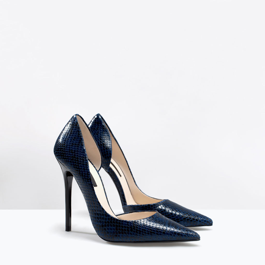 Printed Leather Slide - predominant colour: royal blue; secondary colour: black; occasions: evening, occasion, creative work; material: leather; heel: stiletto; toe: pointed toe; style: courts; finish: plain; pattern: animal print; heel height: very high; season: a/w 2014