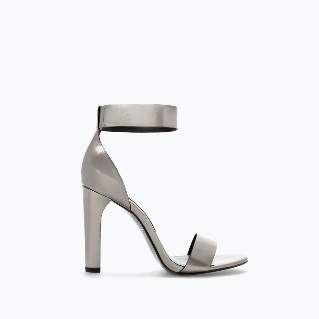 High Heeled Ankle Strap Sandal - predominant colour: silver; occasions: evening, occasion; material: faux leather; heel height: high; ankle detail: ankle strap; heel: block; toe: open toe/peeptoe; style: standard; finish: metallic; pattern: plain; season: a/w 2014